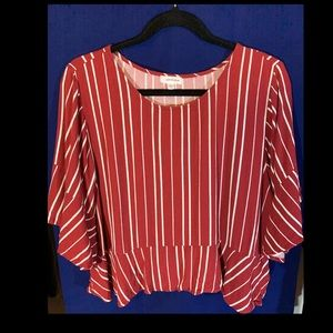 Eyeshadow stripes red and white blouse